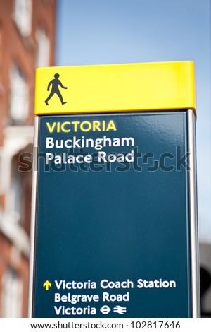 Buckingham palace road sign in London, UK - stock photo