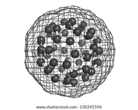 Buckminsterfullerene (buckyball, C60), molecular model. Atoms are represented as spheres - stock photo