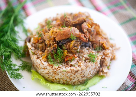 buckwheat cooked with stewed chicken gizzards in gravy - stock photo