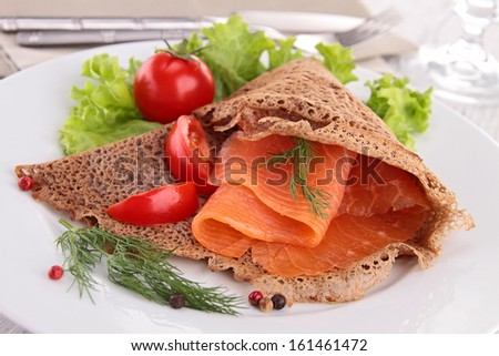buckwheat crepe with salmon