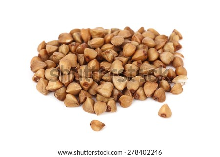 Buckwheat heap isolated on white background - stock photo