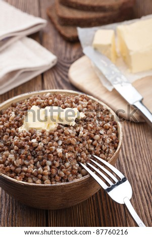 Buckwheat porridge – russian cuisine - stock photo