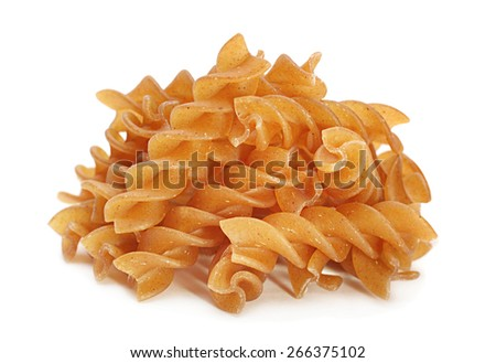 Buckwheat spiral dry pasta isolated on white - stock photo