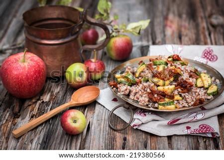Buckwheat with vegetables  - stock photo