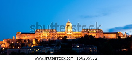 Buda Castle (Royal Palace) at night in Budapest, Hungary - stock photo