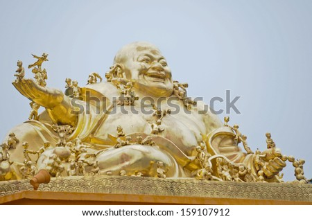 Budai - Laughing Buddha statue in Qibao Temple near Qibao Ancient Town in Minhang District, Shanghai, China