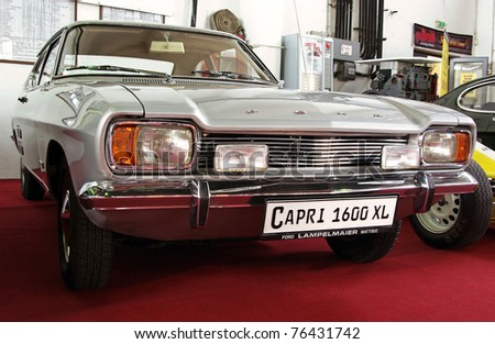 BUDAPEST - APRIL 15: Front of 1974's Ford Mk1 Capri 1600XL at the 5th Oldtimer Expo on April 15, 2011 in Budapest, Hungary - stock photo