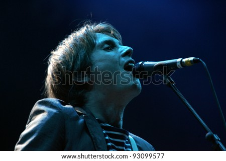 BUDAPEST - AUG 9: The band Franz Ferdinand lead singer Alex Kapranos performs in concert at the annual Sziget Festival in Budapest, Hungary, on Wednesday, August 9, 2006.