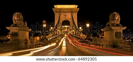 Budapest by night / Chain Bridge - stock photo