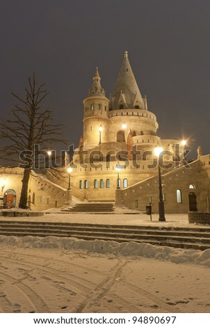 Budapest by night: fisherman's bastion at winter - stock photo