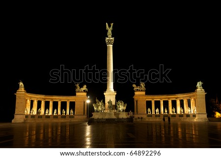 Budapest by night / Hero's square