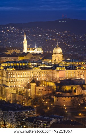 Budapest by night: Royal Palace of Buda from bird's-eye view