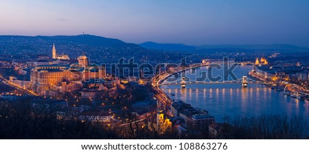 Budapest by Night, view from Gallert hill - stock photo