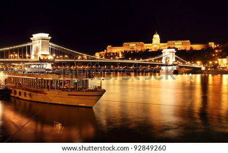 Budapest castle and chain bridge, Hungary - stock photo