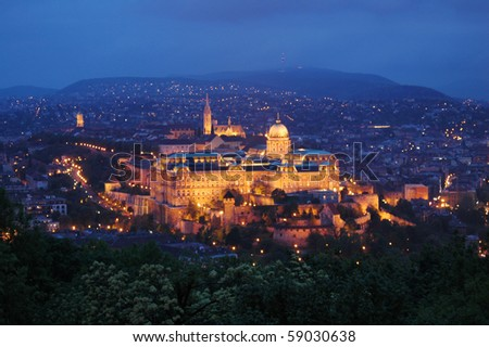 Budapest castle at night - stock photo