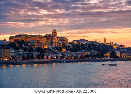 Budapest Castle at Sunset from danube river, Hungary - stock photo