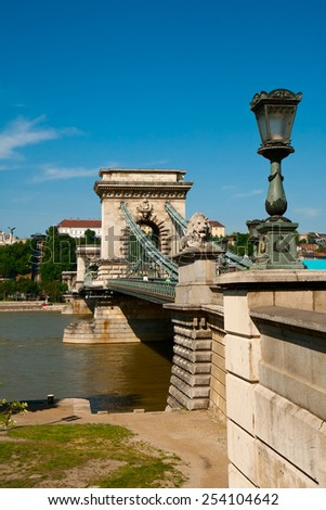 Budapest, chain bridge over the Danube - stock photo