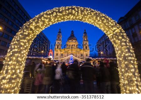 Budapest Christmas Market in front of Saint Stephen Basilica - stock photo