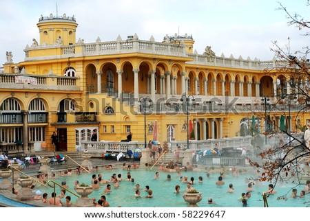 BUDAPEST - CIRCA NOVEMBER 2008: People having thermal bath in the Szechenyi spa circa November 2008 in Budapest, Hungary. - stock photo