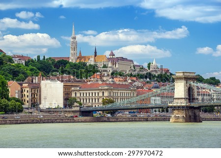 Budapest city skyline and Danube river - Hungary - stock photo