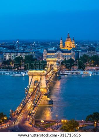 Budapest city skyline at night, Budapest, Hungary - stock photo