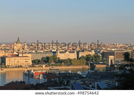 Budapest cityscape view at sunset when everything painted with yellow sunlight
