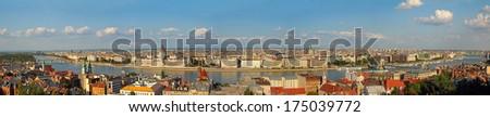 Budapest - Danube River embankment panorama. Danube River embankment in Budapest is World Heritage Site by UNESCO - stock photo