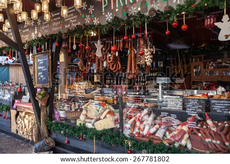 Budapest - December 25: Selling food at the Christmas Fair, December 25, 2013 in Budapest, Hungary