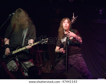 BUDAPEST - FEBRUARY 18: Survivors Zero, Finnish Death Metal Band performs on stage at Diesel Club on February 18, 2010 in Budapest, Hungary.