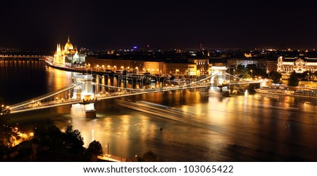 Budapest - Hungarian parliament and chain bridge. - stock photo
