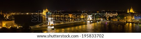 Budapest - Hungarian parliament and chain bridge. - stock photo