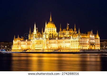 Budapest. Hungarian parliament in Budapest during twilight blue hour. - stock photo