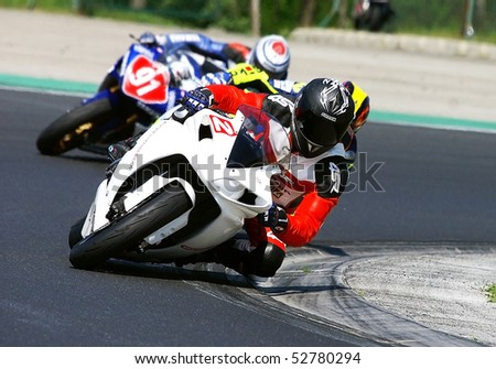 BUDAPEST, HUNGARY - APRIL 26: Alpe-Adria championship - Superstock 600 category on April 26, 2009 in Budapest, Hungary - stock photo