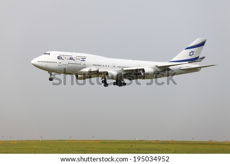 BUDAPEST, HUNGARY - APRIL 30: El Al Israel Arirlines Boeing 747 landing at Budapest Liszt Ferenc Airport, April 30th 2013. El Al is the flag carrier airline of Israel since 1948. - stock photo