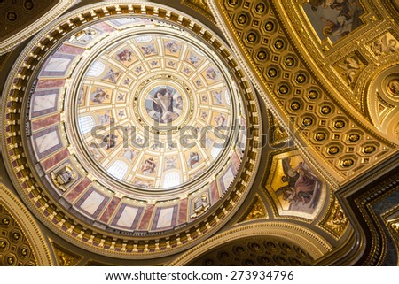 BUDAPEST, HUNGARY - 10 april 2015: Inside St. Stephen Cathedral. Largest church in Budapest Hungary.