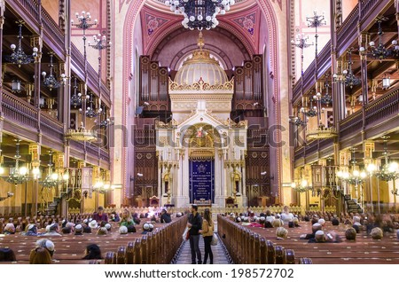 BUDAPEST, HUNGARY - APRIL 13: Interior of the Great Synagogue in Dohany Street on April 13, 2014 in Budapest, Hungary. The Dohany Street Synagogue is the largest synagogue in europe. - stock photo