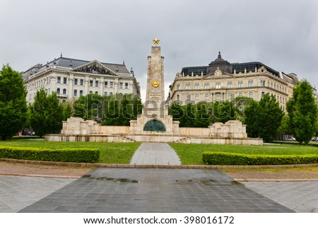 BUDAPEST, HUNGARY - APRIL 2, 2014: Soviet Monument on the Freedom Square. The monument was built by Karoly Antal and honors the Soviet soldiers who died in 1944-1945 during liberation of Budapest. - stock photo