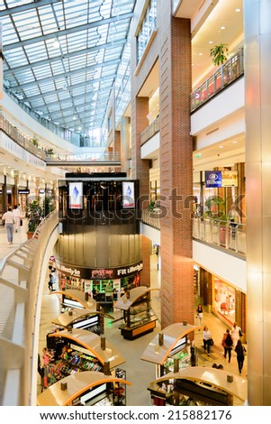 BUDAPEST, HUNGARY - AUG 27, 2014: West End City Center, a shopping centre in Budapest, Hungary. it is the former largest mall in Central Europe and it was opened on Nov 12, 1999