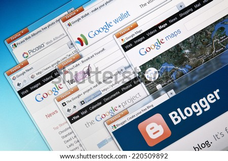 Budapest, Hungary - August 18, 2011 Selection of Google Inc.`s products. Including: Picasa, Google wallet, Google News, Google Maps, Google+Project and Blogger.com  - stock photo