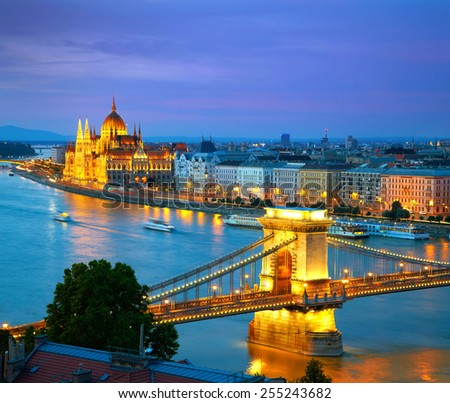 Budapest, Hungary. Chain Bridge and the Parliament. HDR - stock photo