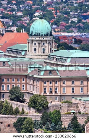 Budapest, Hungary - cityscape with Buda Castle. Old Town aerial view. - stock photo