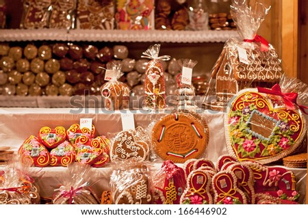 BUDAPEST, HUNGARY - 1 DECEMBER, 2013: Christmas Fair in Budapest. From Advent to New Year the square in front of the Basilica gives home to a charming Christmas fair.  - stock photo