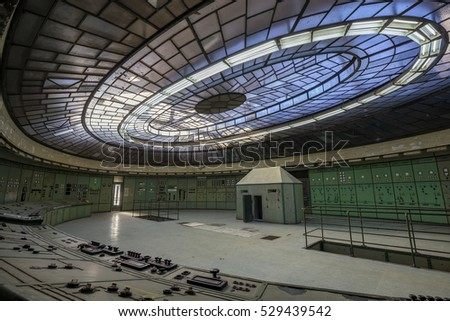 BUDAPEST, HUNGARY - DECEMBER 3, 2016: Control room of an abandoned power plant.The glass roof of the room is one of the most famous art deco style monument in Hungary.