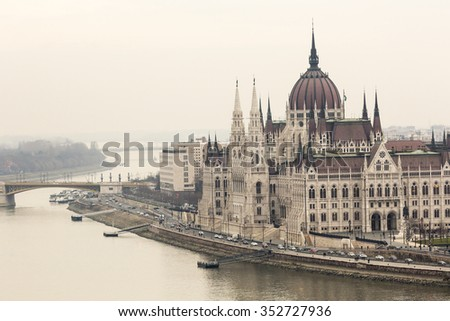 BUDAPEST, HUNGARY - DECEMBER 10, 2015: Parliament in Budapest, capital city of Hungary, Europe - stock photo