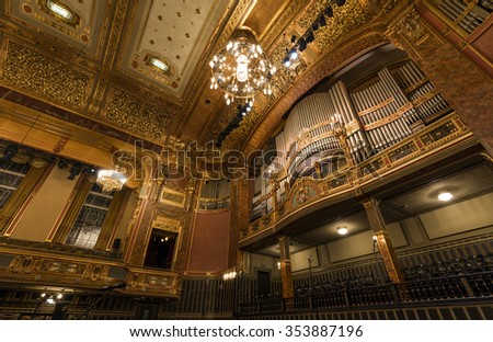 BUDAPEST, HUNGARY - DECEMBER 21: The main hall of The Liszt Academy of Music  as on December 21, 2015. It is a concert hall and music conservatory in Budapest, Hungary, founded on November 14, 1875.