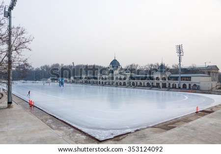 BUDAPEST, HUNGARY - JANUARY 27, 2014: City Park Ice Rink in Budapest, Hungary. Opened in 1870, it is the largest and one of the oldest ice rinks in Europe - stock photo