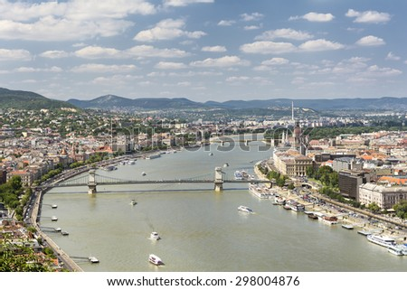 BUDAPEST, HUNGARY, JULY 10,2015: Aerial view of Budapest, capital and largest city of Hungary occupying both banks of the river Danube. - stock photo