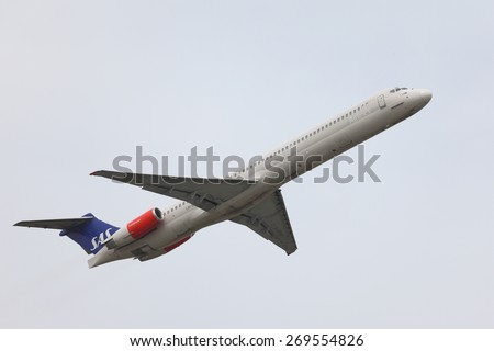 BUDAPEST, HUNGARY - JULY 4: Airliner of SAS Scandinavian Airlines is departing from Budapest, July 4th 2014. - stock photo