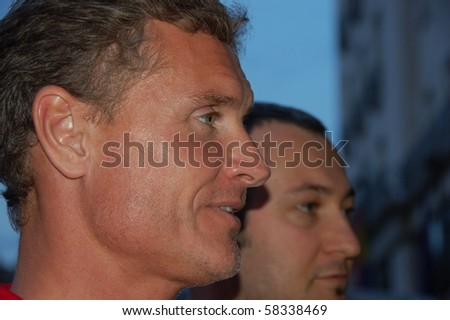 BUDAPEST, HUNGARY - JULY 29: Ex-F1 friver David Coulthard arrived to Budapest and met his fans on July 29, 2010 in Budapest, Hungary.