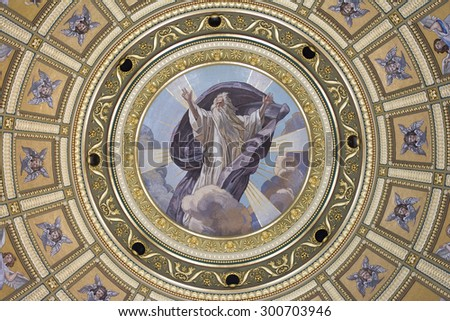 BUDAPEST, HUNGARY, JULY 9, 2015: Interior ceiling detail from St. Stephen's Basilica, Budapest, Hungary. - stock photo